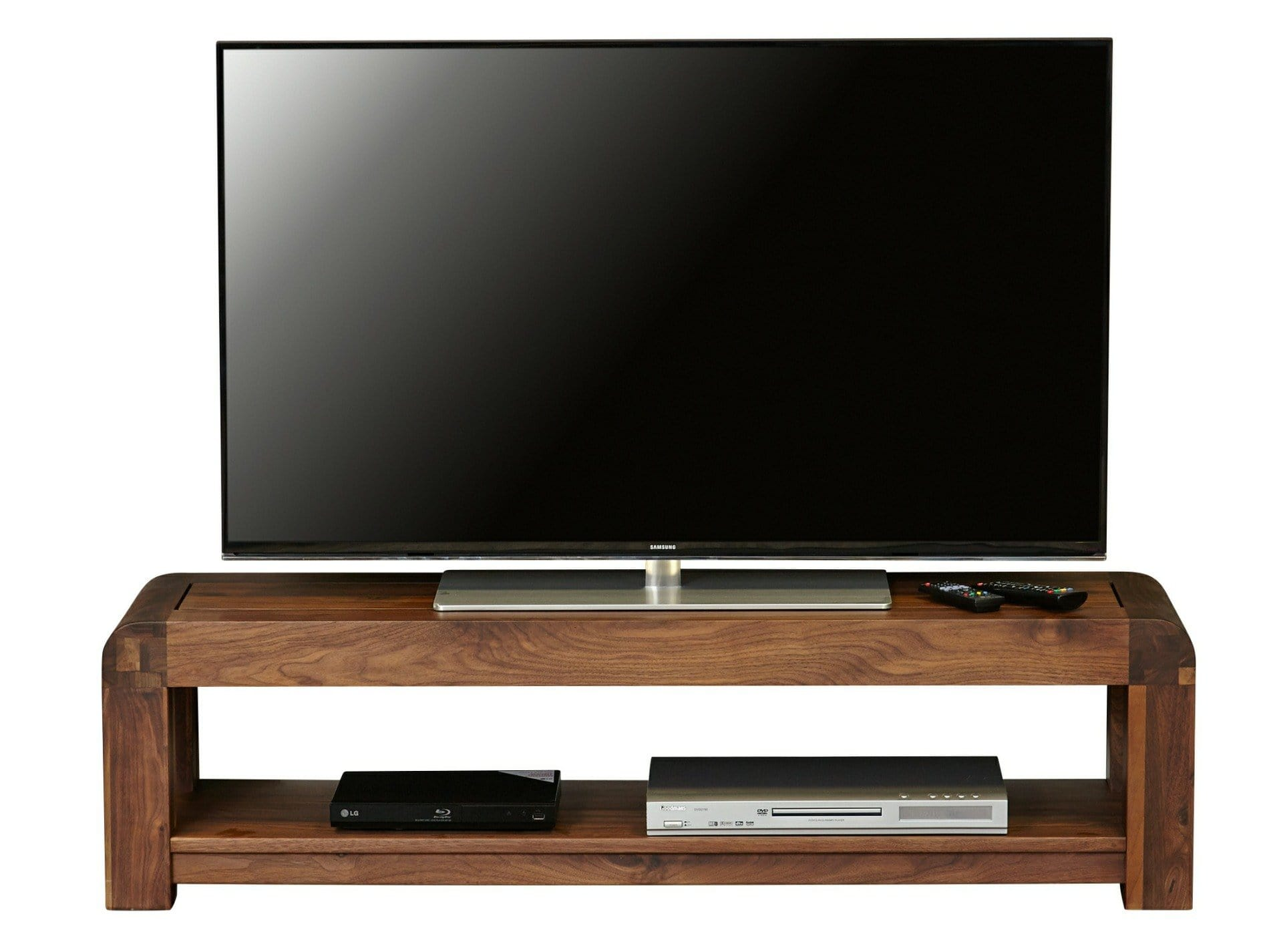 Dark wood TV stand from the Sola range, with bottom shelf