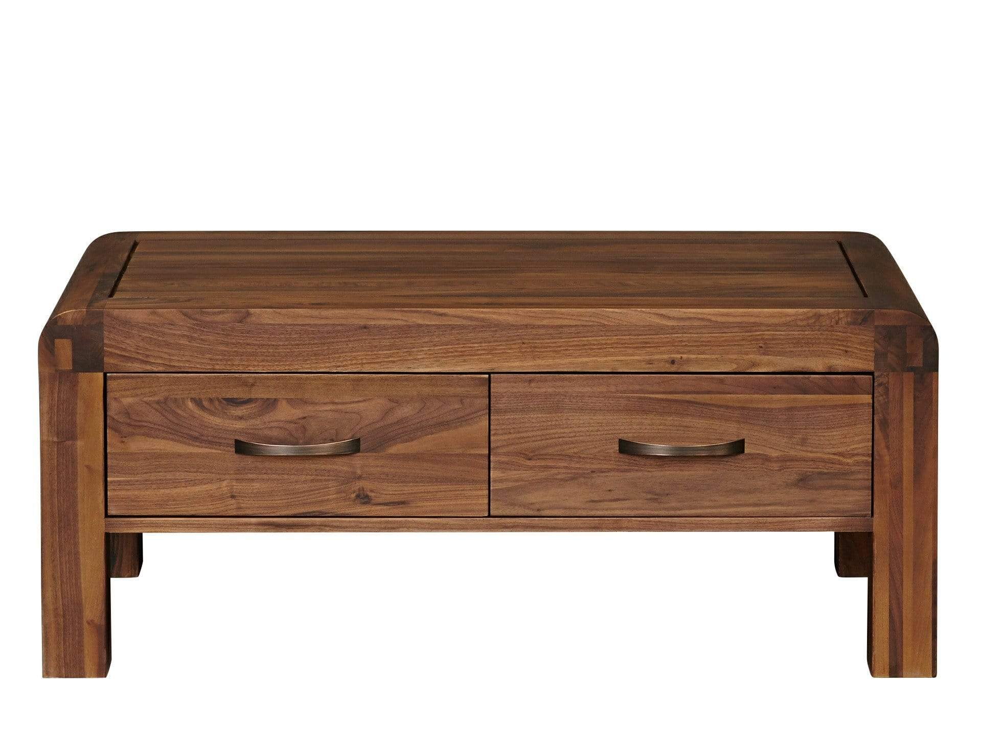 Dark wood coffee table featuring two drawers and curved edges