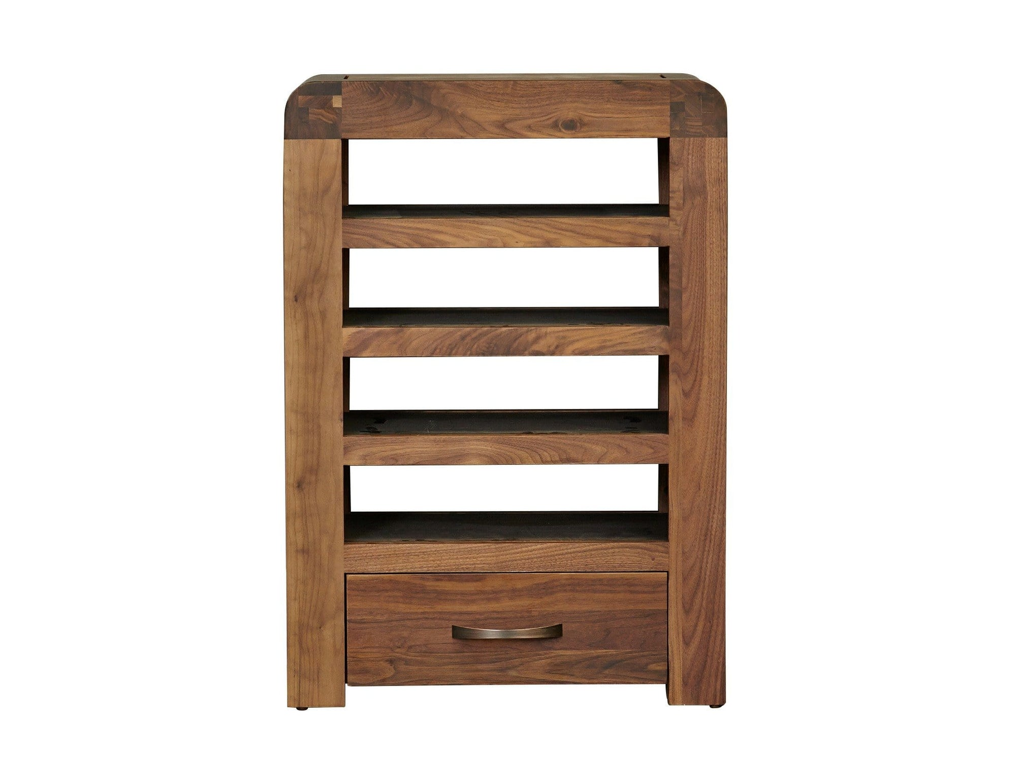 Dark wood media unit with four shelves for stacking media players, plus bottom drawer