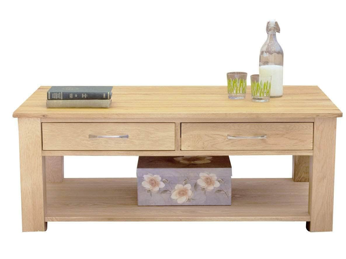 Coffee table made from solid oak, with two drawers plus shelf underneath