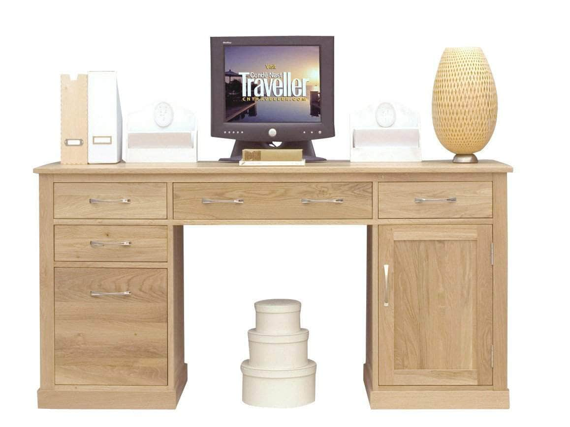 Solid oak twin pedestal computer desk with built-in filing cabinet