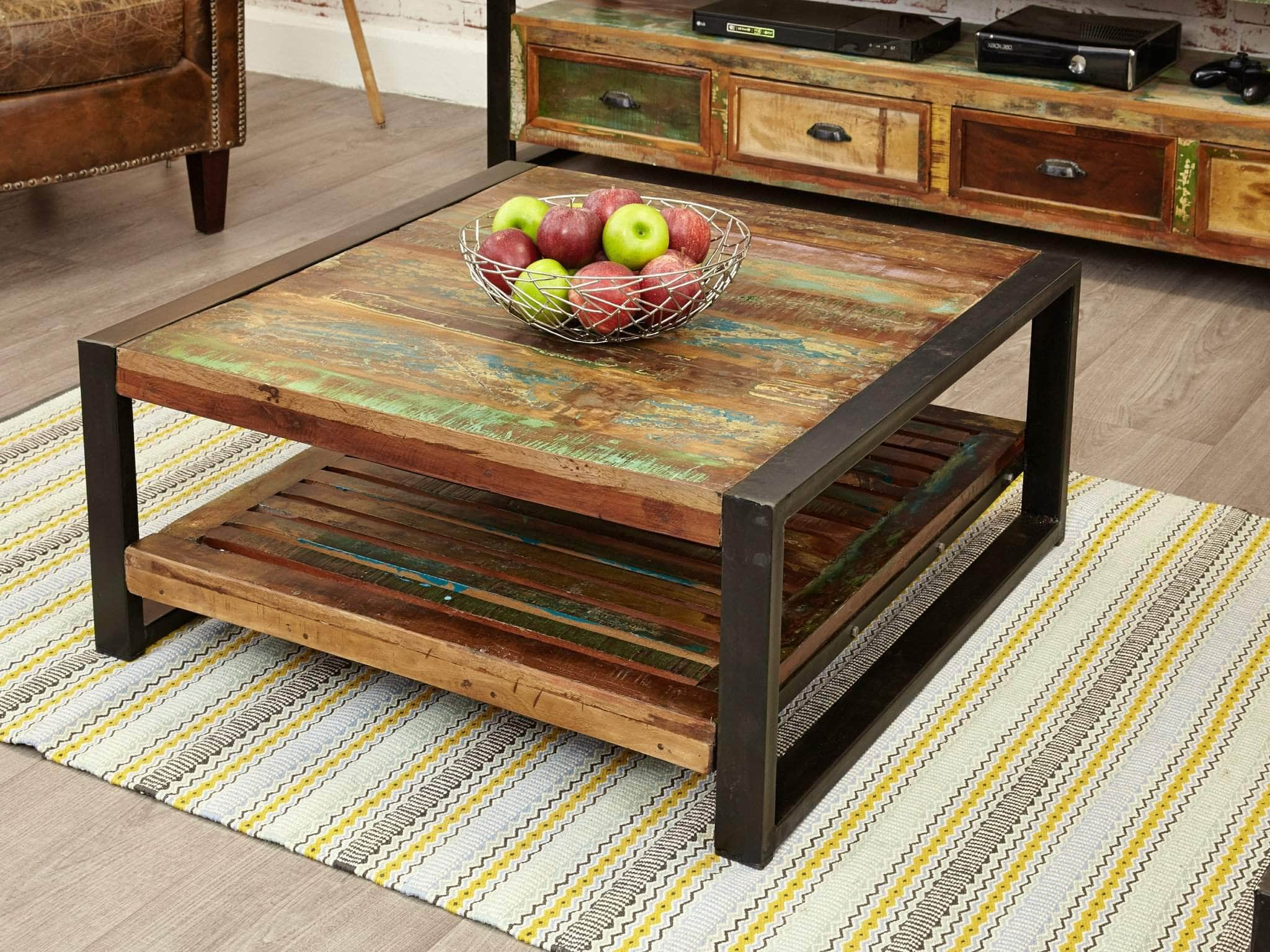 asia square reclaimed wood coffee table