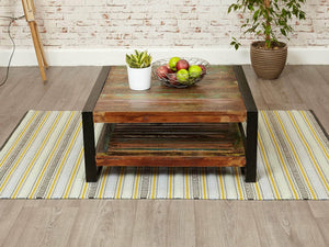 Square reclaimed wood coffee table front view
