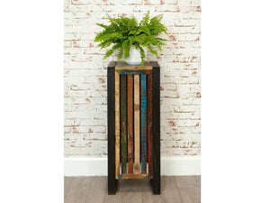 Tall reclaimed wood plant stand / lamp table front view