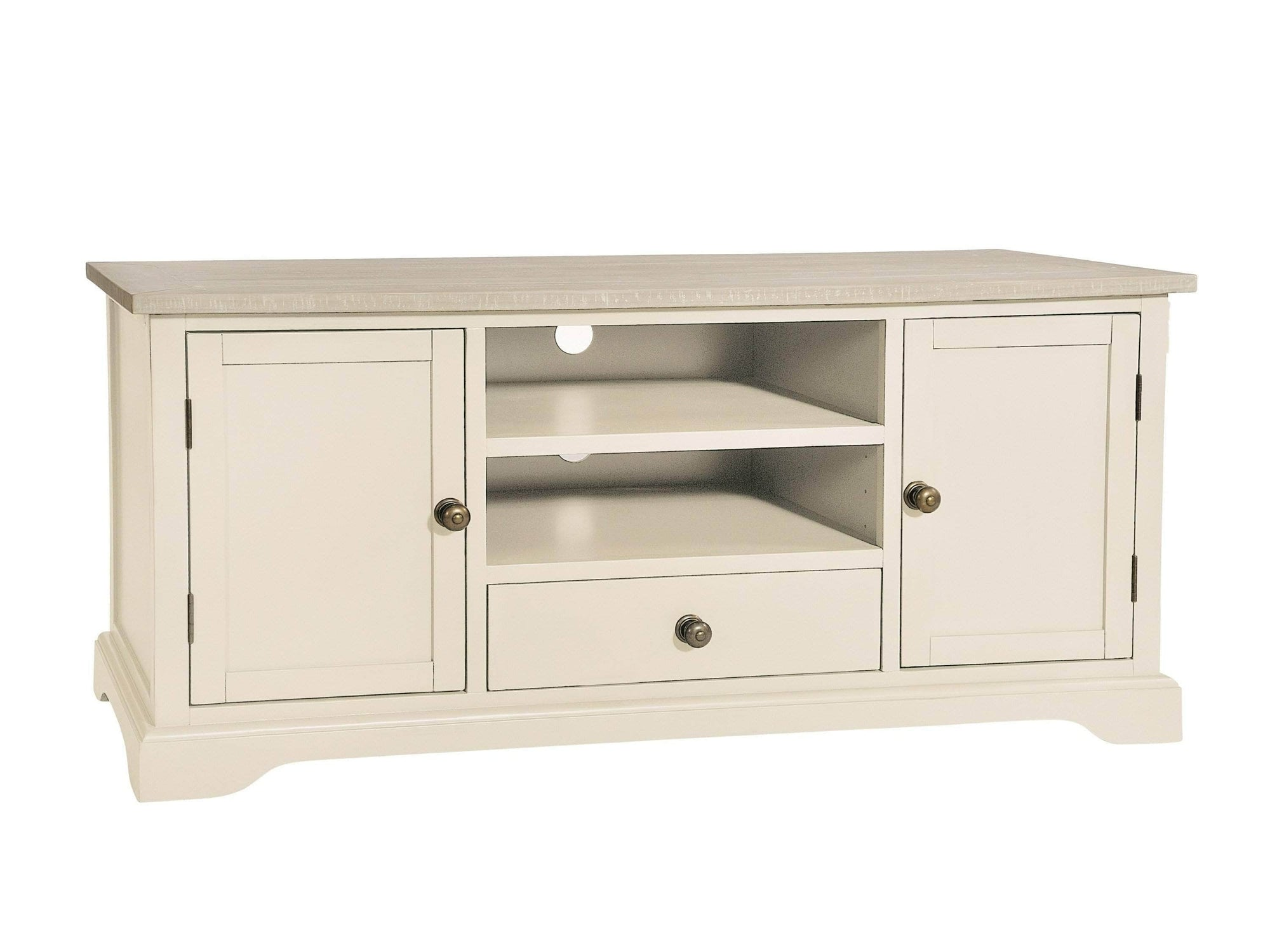 TV cabinet painted in ivory white colour, with distressed markings to the paint.