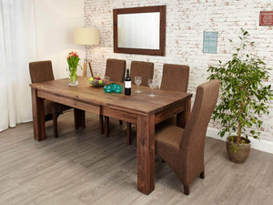 Walnut extending dining table side view