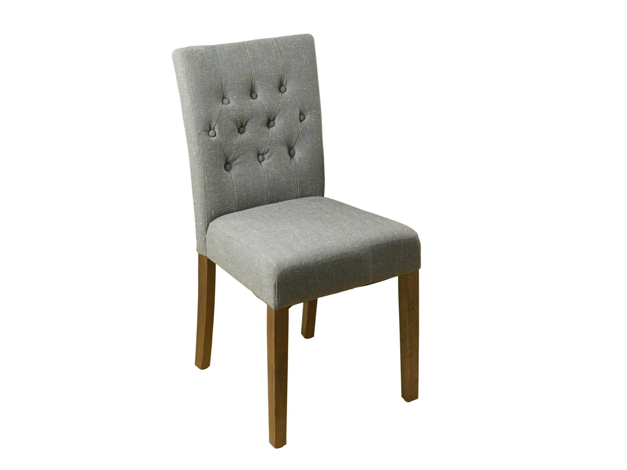 Dark grey linen fabric dining chairs with walnut legs