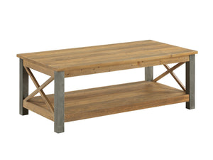 Industrial coffee table with steel legs