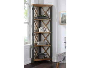 Wharf Industrial Style Corner Bookcase - Large