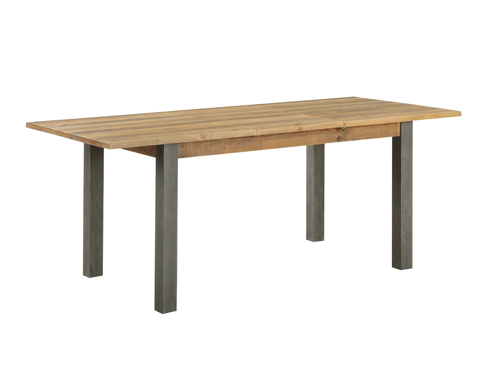 Extendable industrial dining table which seats up to eight people.