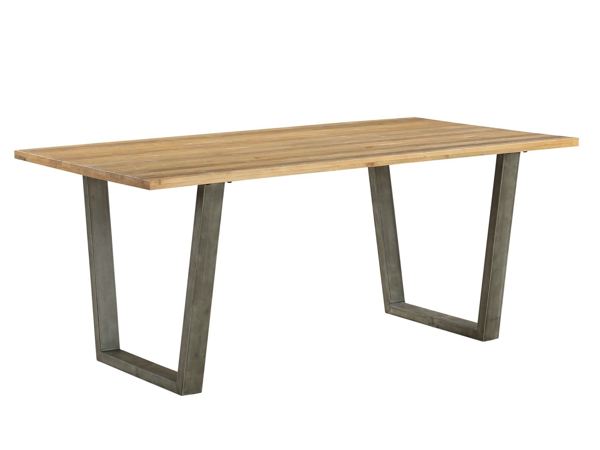 Industrial dining table with steel frame legs