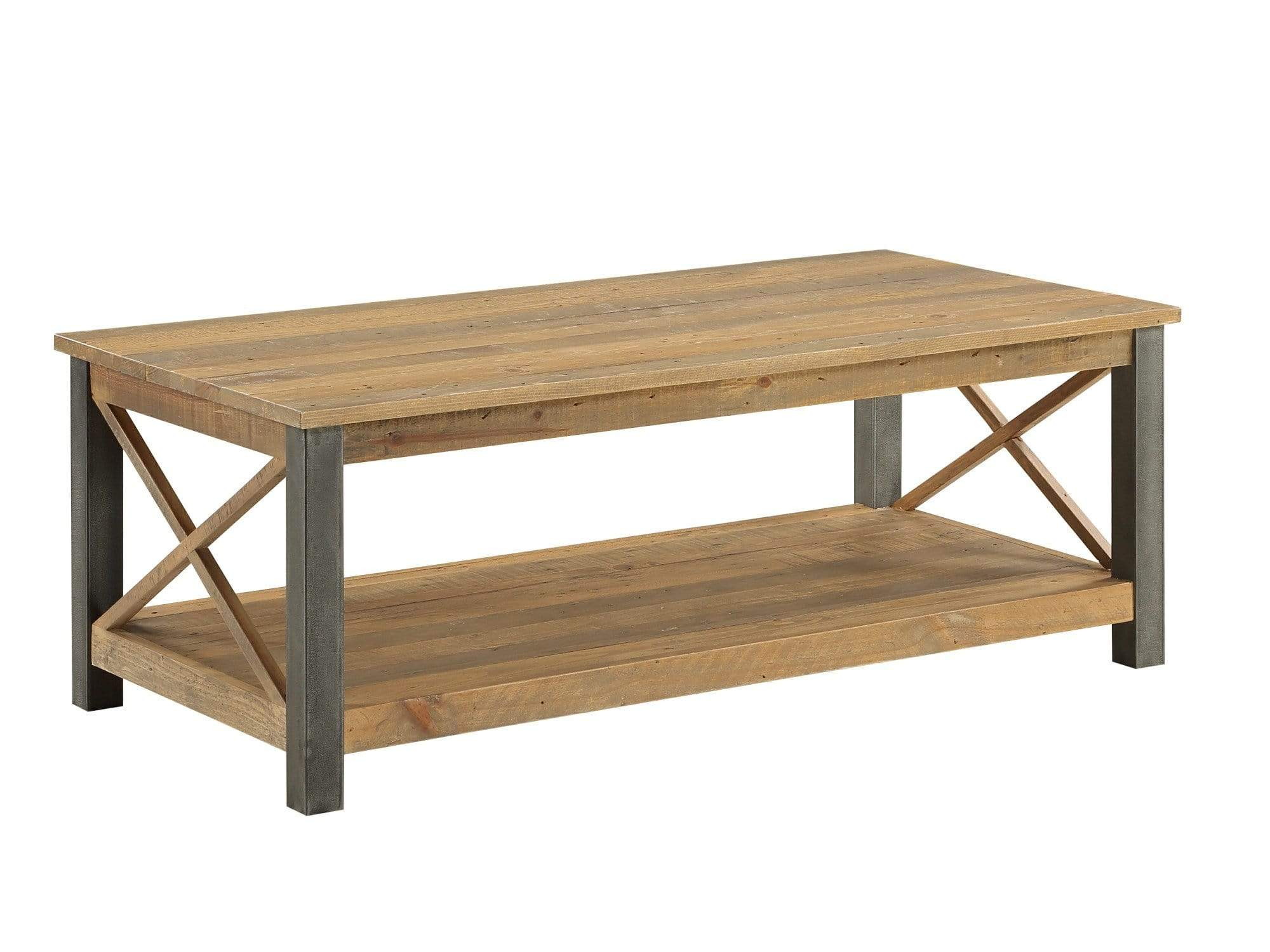 Large industrial coffee table with distressed steel legs