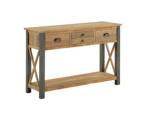 Large industrial console table with four drawers