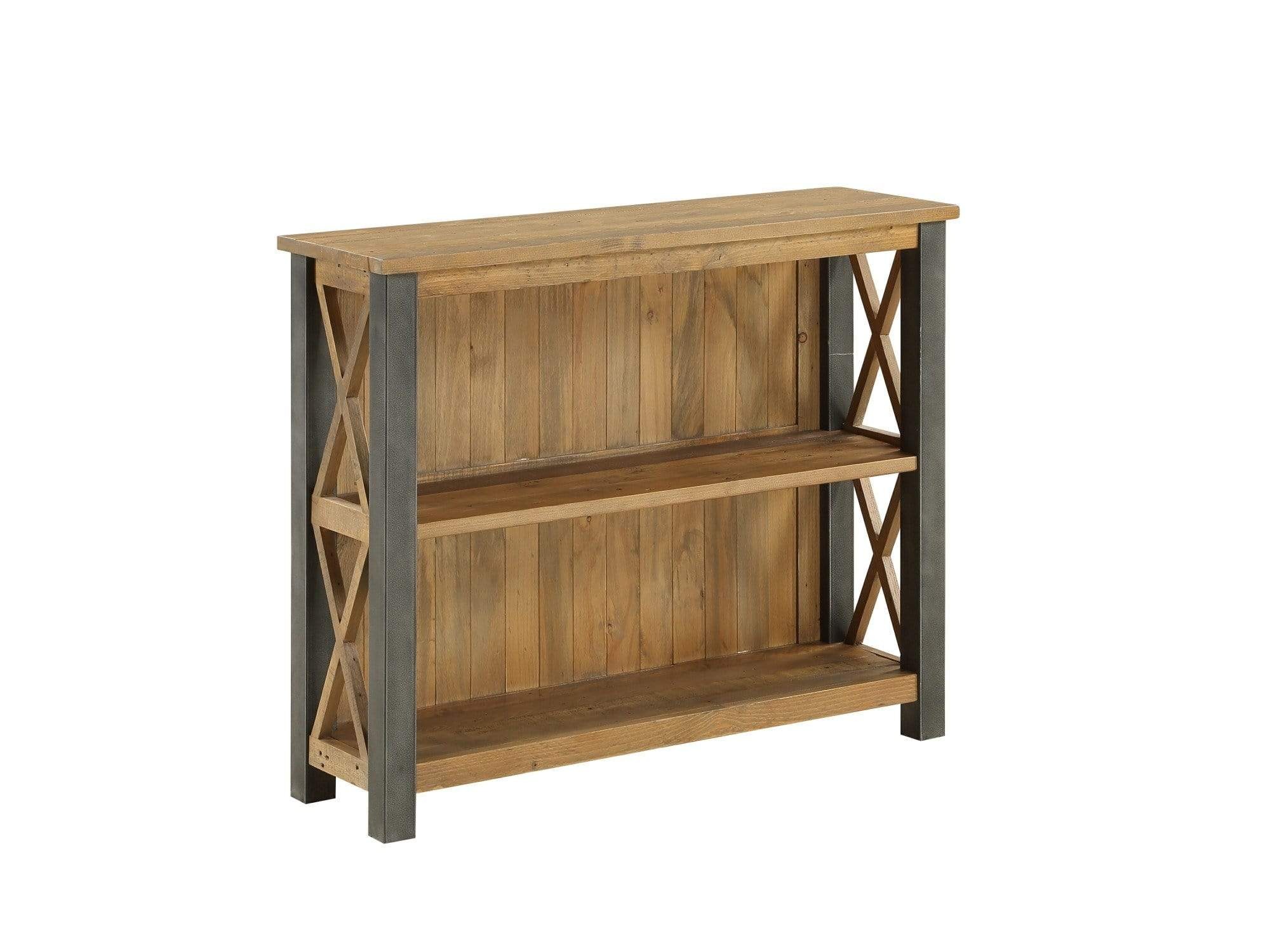 Low height industrial bookcase with two shelves