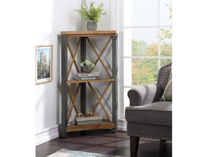 Wharf Industrial Corner Bookcase - Small