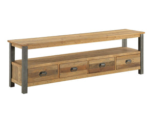 Large industrial TV stand featuring four drawers
