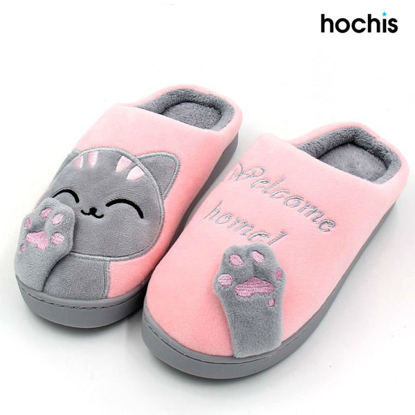 Welcome Home Cute Cat Winter Slippers