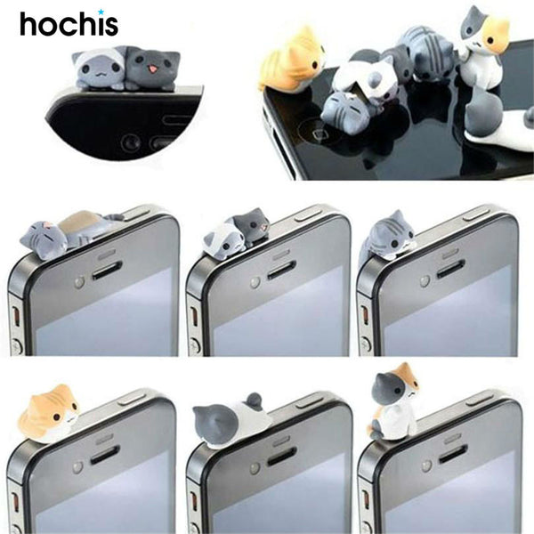 Cute Cats Phone Anti Dust Plug 6 Pieces Pack