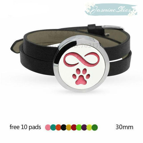 Peace/Flag and Dog Foot Design Aromatherapy Leather Bracelet