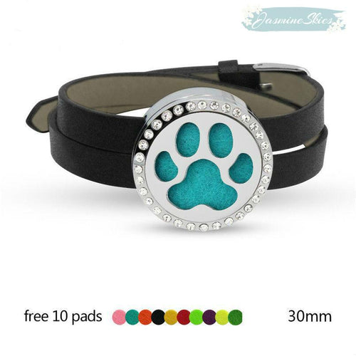 Dog Foot Design Aromatherapy Leather Bracelet with Crystal