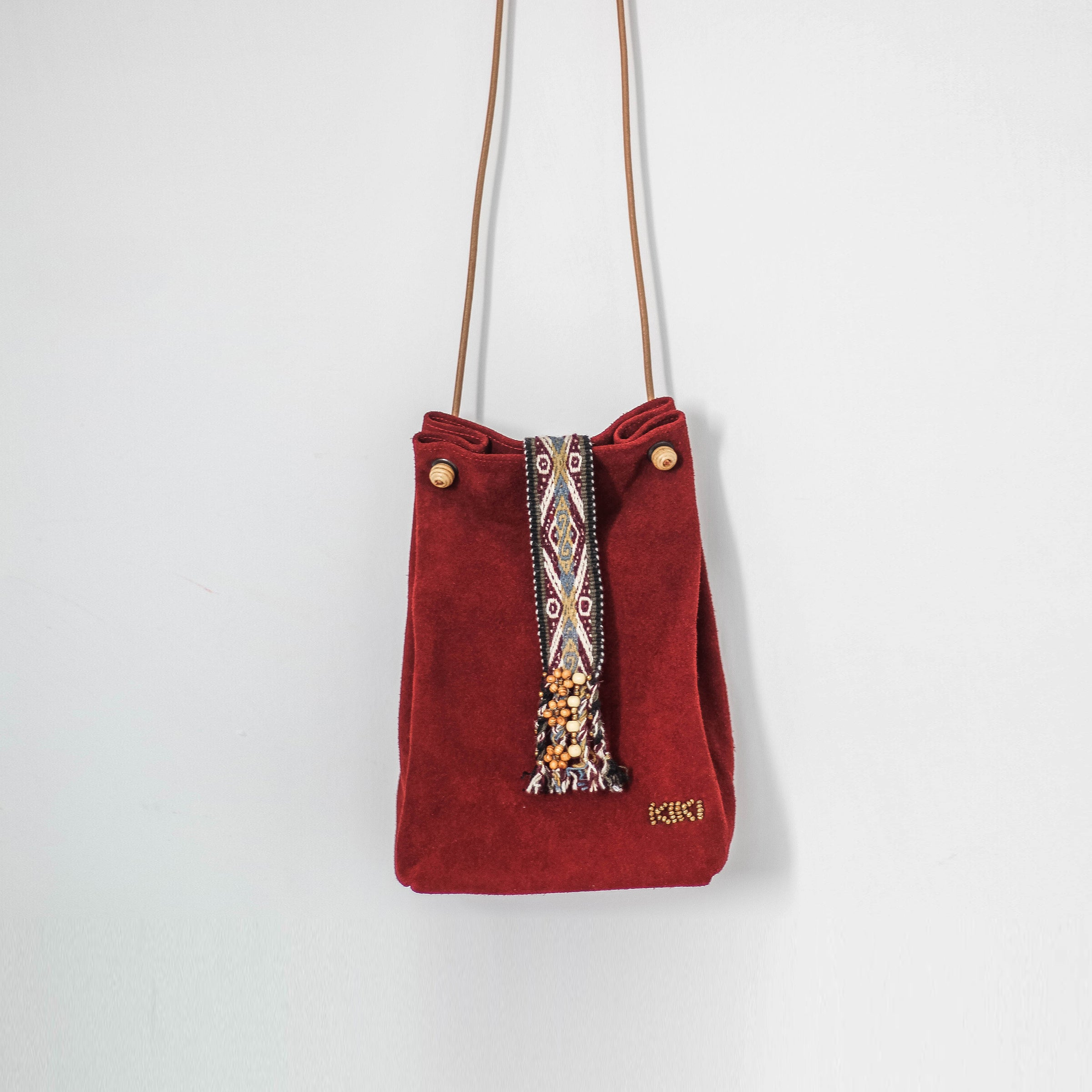 Red suede leather bag with peruvian alpaca wool ribbon ... 8272d10fa
