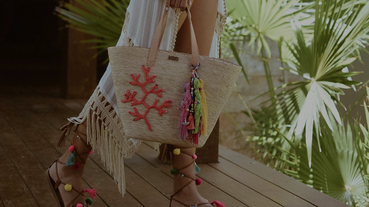 Hand crafted totes made with palm