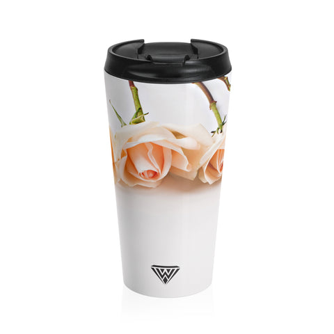 Stainless Steel Travel Mug (Cream Roses)