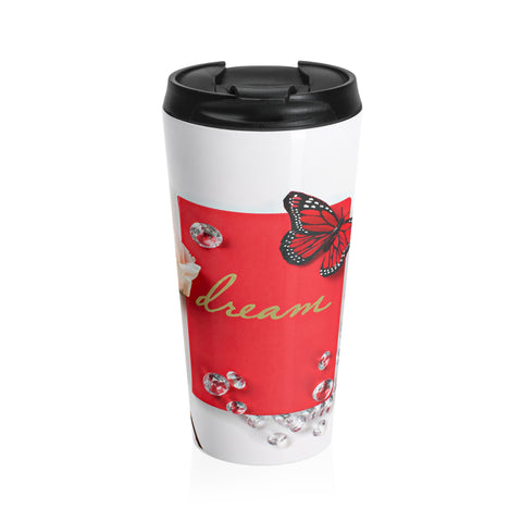 Stainless Steel Travel Mug (Diamonds Red Butterfly)