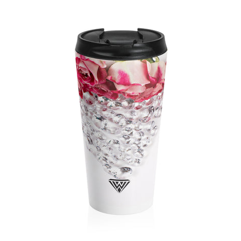 Stainless Steel Travel Mug (Diamonds Prink Roses)