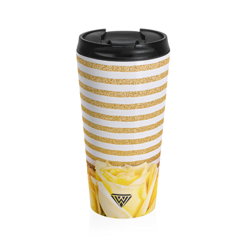 Stainless Steel Travel Mug (Yellow Roses Gold)