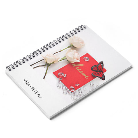 Spiral Notebook - Ruled Line (Red Butterly Diamonds Cream Roses)
