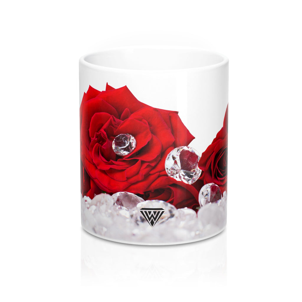 Ceramic Drinking Mug (Red Roses Diamonds)