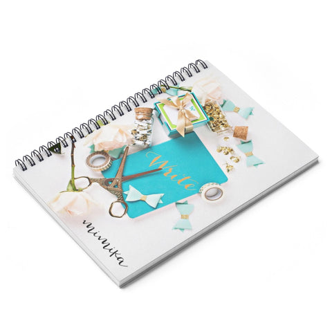 Spiral Notebook - Ruled Line (Turquoise Gold Scissors Bows)