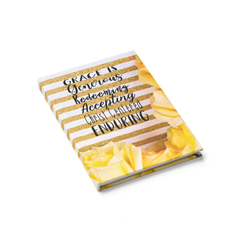 Journal - Ruled Line (Yellow roses Gold White)
