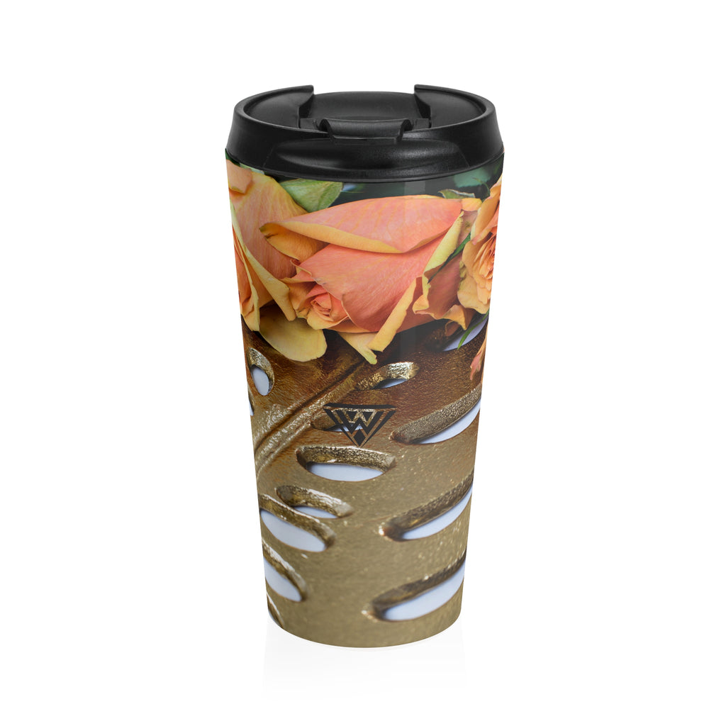 Stainless Steel Travel Mug (Gold Leaf Orange roses)