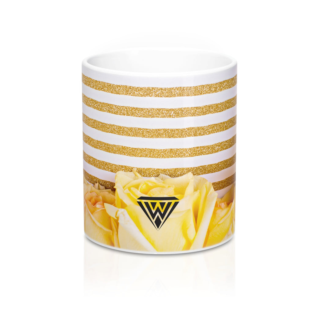 Ceramic Drinking Mug (Yellow Roses Gold)