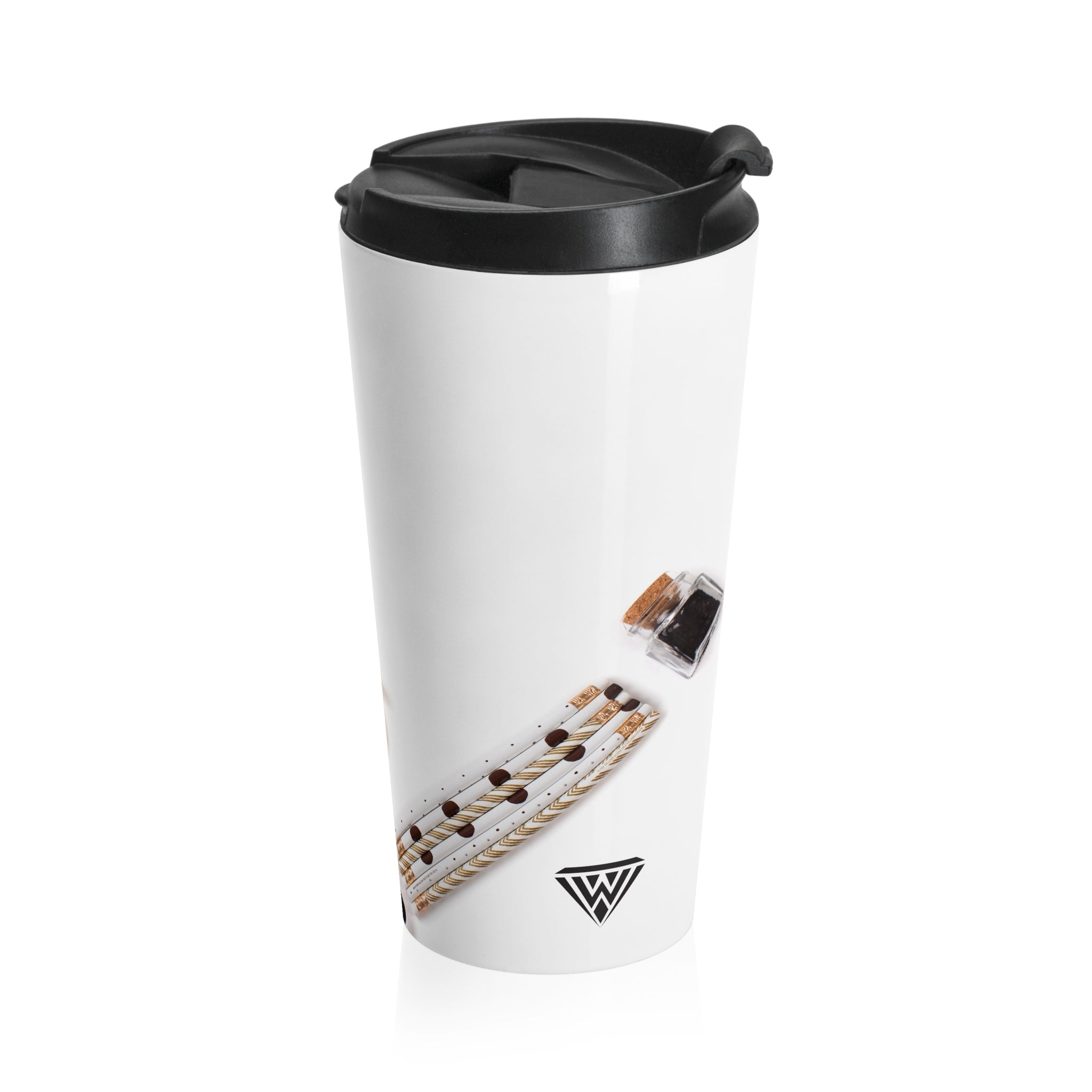 Stainless Steel Travel Mug (Black White Gold To Do)