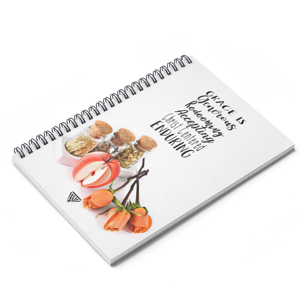 Spiral Notebook - Ruled Line (Orange Roses Apple Gold Pins)