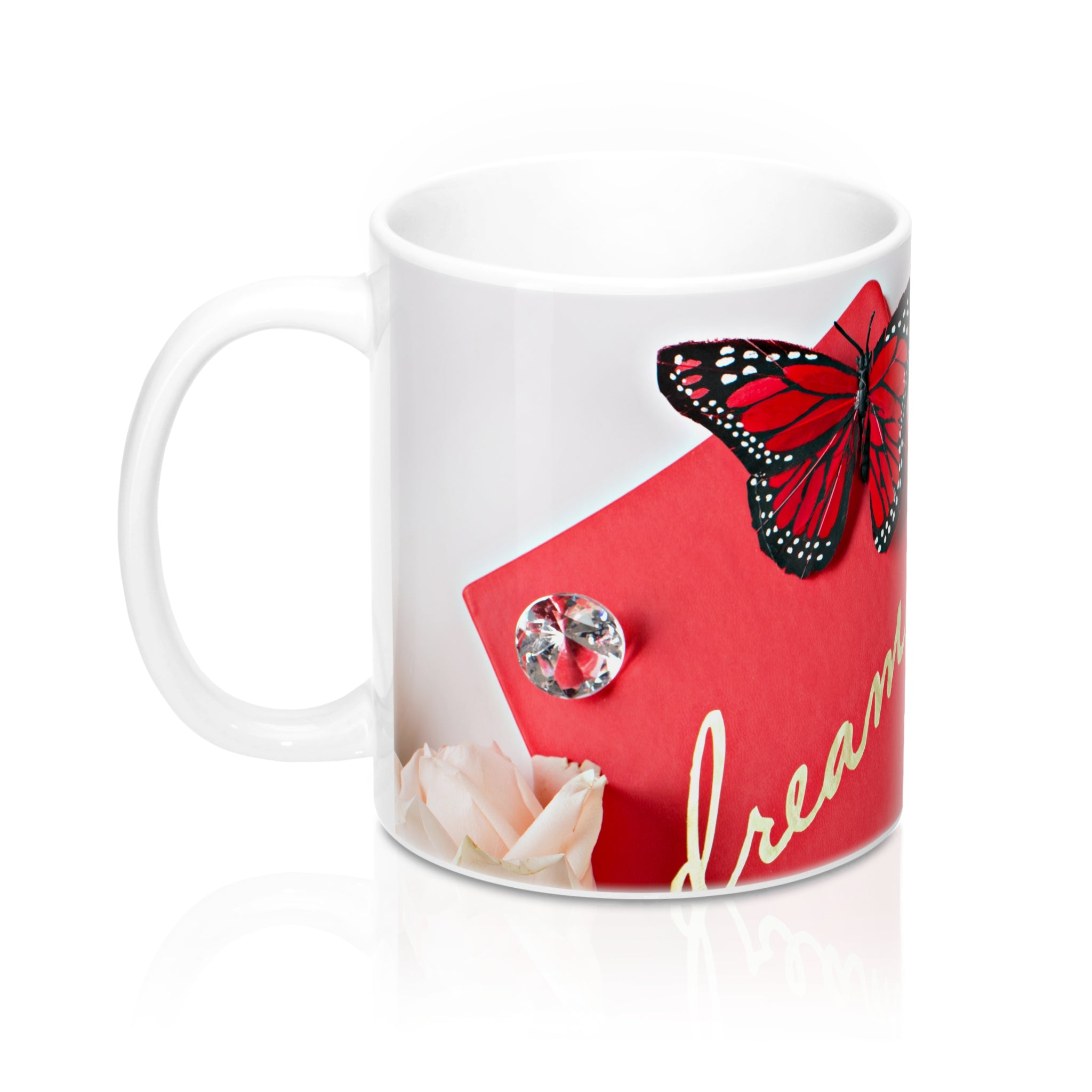 Ceramic Drinking Mug (Diamonds Red Journal Dream)