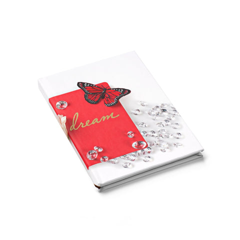 Journal - Ruled Line (Red Butterly Diamonds Cream Roses)