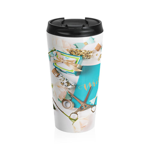 Stainless Steel Travel Mug (Turquoise Journal Gold Scissors)