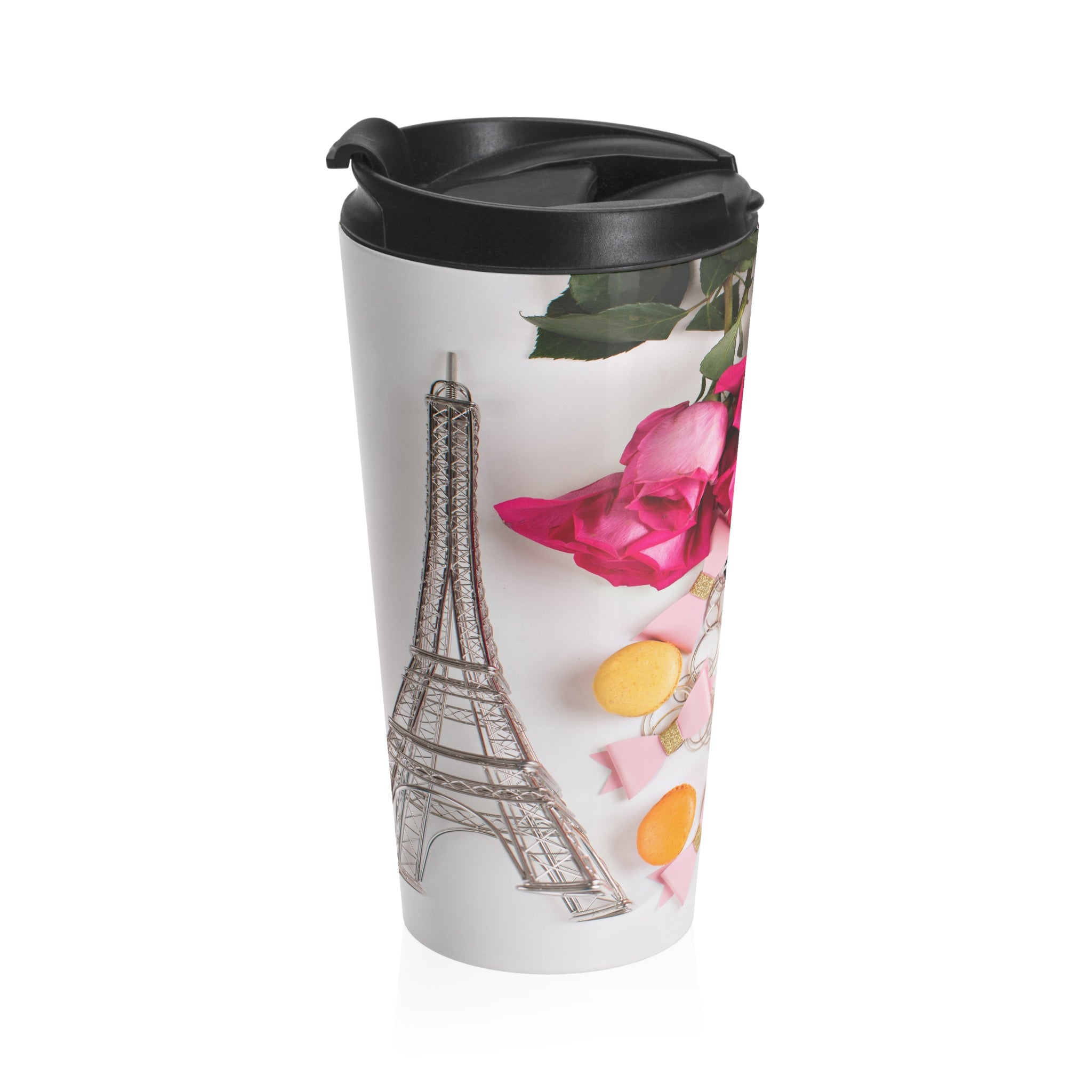 Stainless Steel Travel Mug (Paris Roses Macarons Pink)