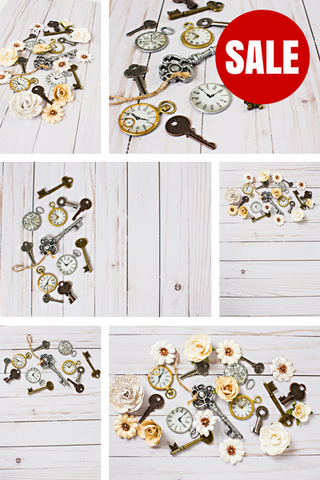 Stock Photo BUNDLE (Set of 10) Keys Clocks Flowers