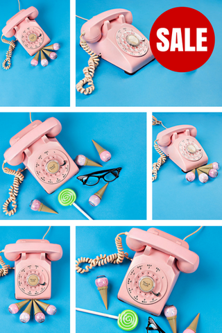 Stock Photo BUNDLE (Set of 10) Pink Phone Blue Background