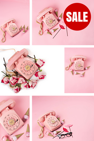Stock Photo BUNDLE (Set of 10) Pink Retro Telephone