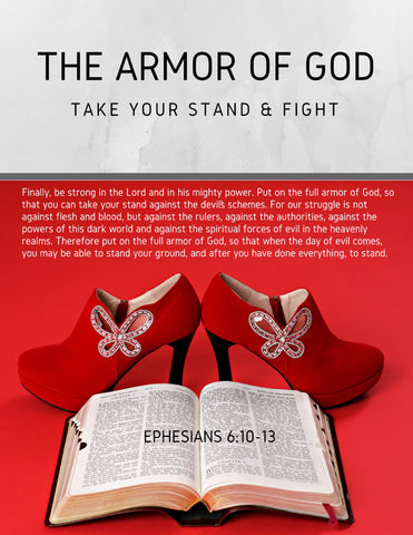 "Wall Art Armor of God Declarations (Printable 7 page 8x10"") Red Heels"