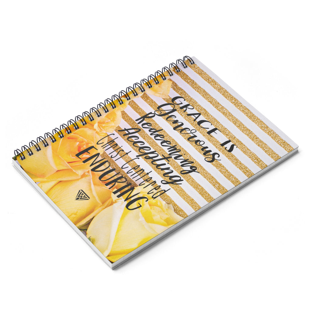 Spiral Notebook - Ruled Line (Yellow roses Gold White)