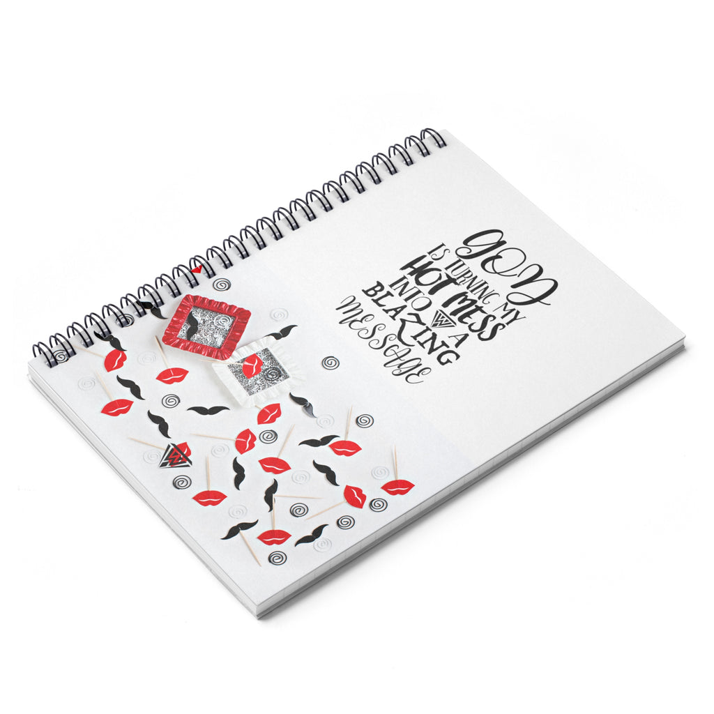 Spiral Notebook - Ruled Line (Red Black Lips Moustache)