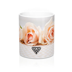 Ceramic Drinking Mug (Cream Roses Chevron)