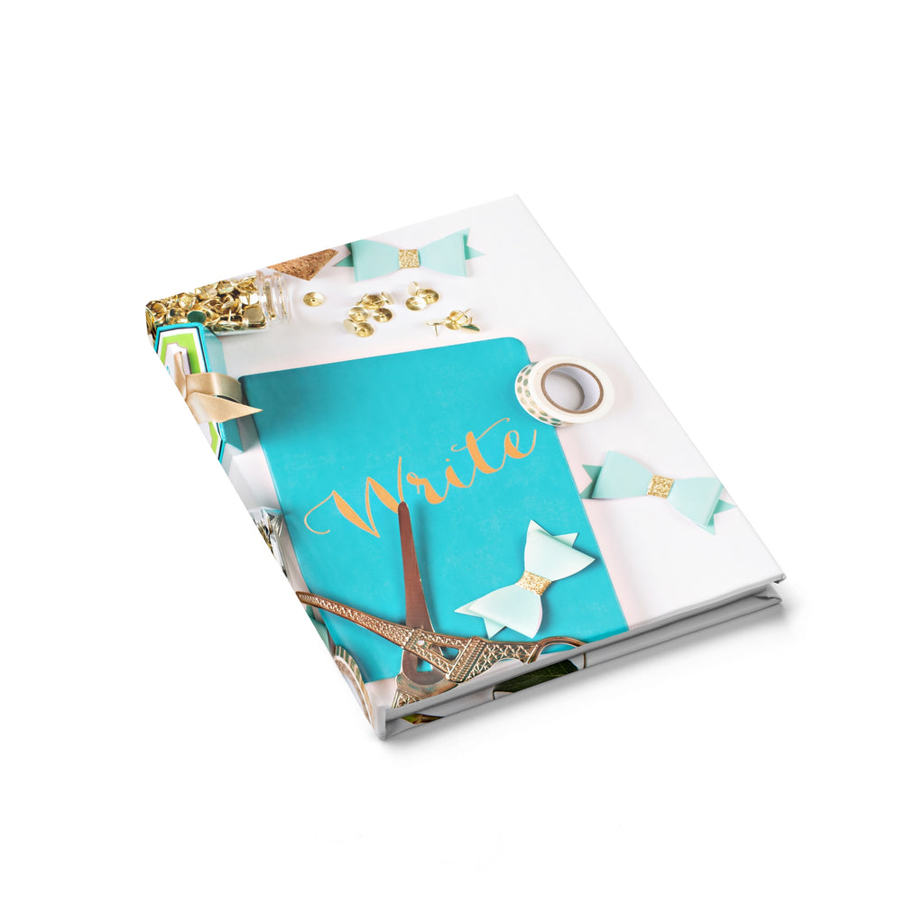 Journal - Ruled Line (Turquoise Gold Scissors Bows)